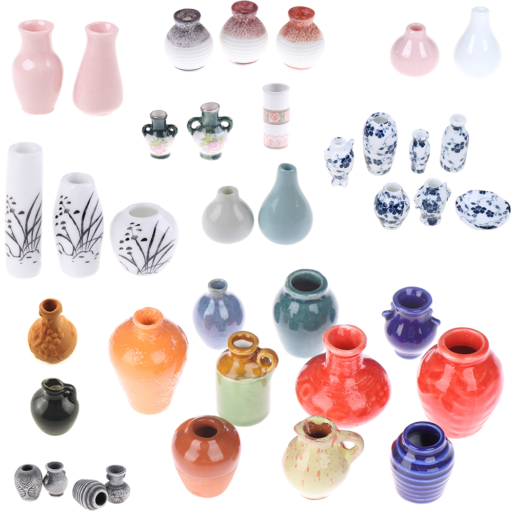 1/2/3/5/7/9pcs/set Dollhouse Mini Ceramic Porcelain Vase Accessories Doll House Miniatures 1:12 Accessories Decorative Miniature