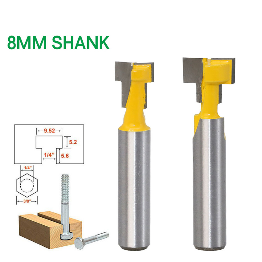 2PCS/Set 8mm Shank T-Slot Cleaning Bottom Router Bit, 8x3/8, 8x1/2, Wood Photo Frame Keyhole Knife Woodworking Milling Cutter