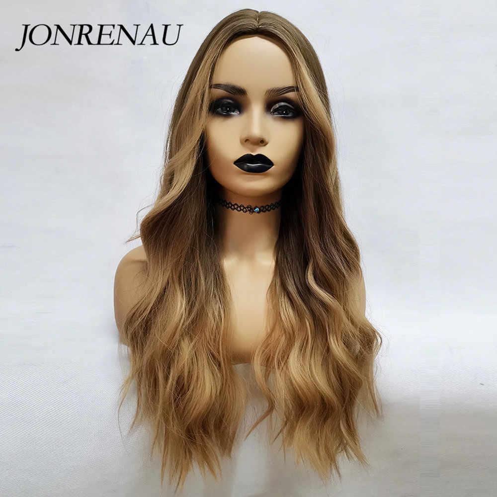 JONRENAU uzun sentetik doğal dalga kahverengi altın sarışın Ombre saç peruk günlük giyim peruk beyaz/siyah kadın