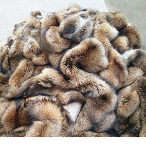 Image 5 - Cuello de piel de mapache Real para mujer, piel Natural gris, Collar, chal de piel auténtica, cuello de mapache, piel