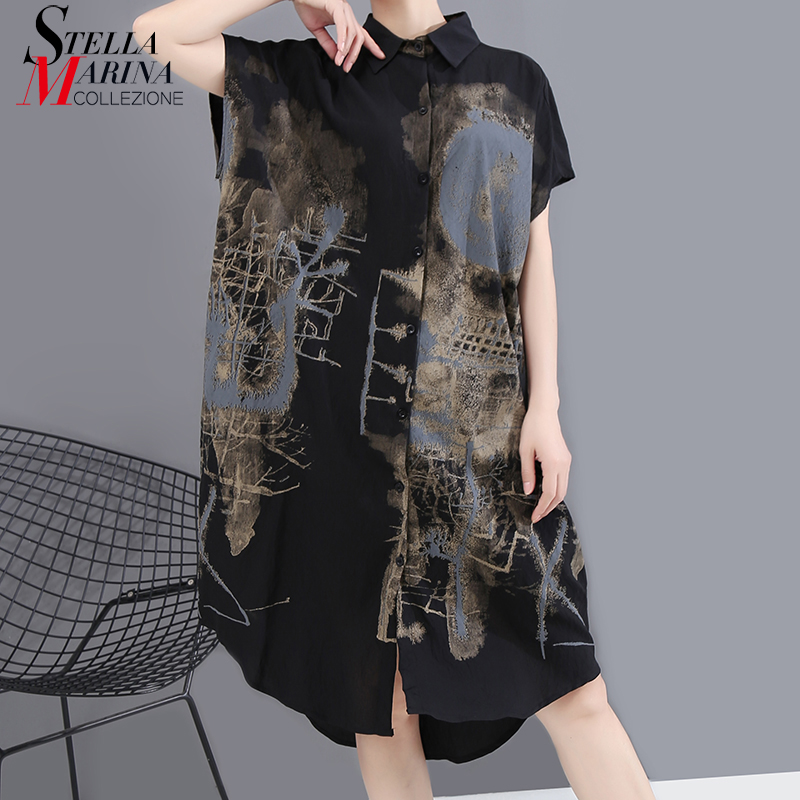 New 2020 Korean Painted Style Summer Women Black Vintage Shirt Dress Printed Big Size Ladies Stylish Casual Midi Dress Robe 6107(China)