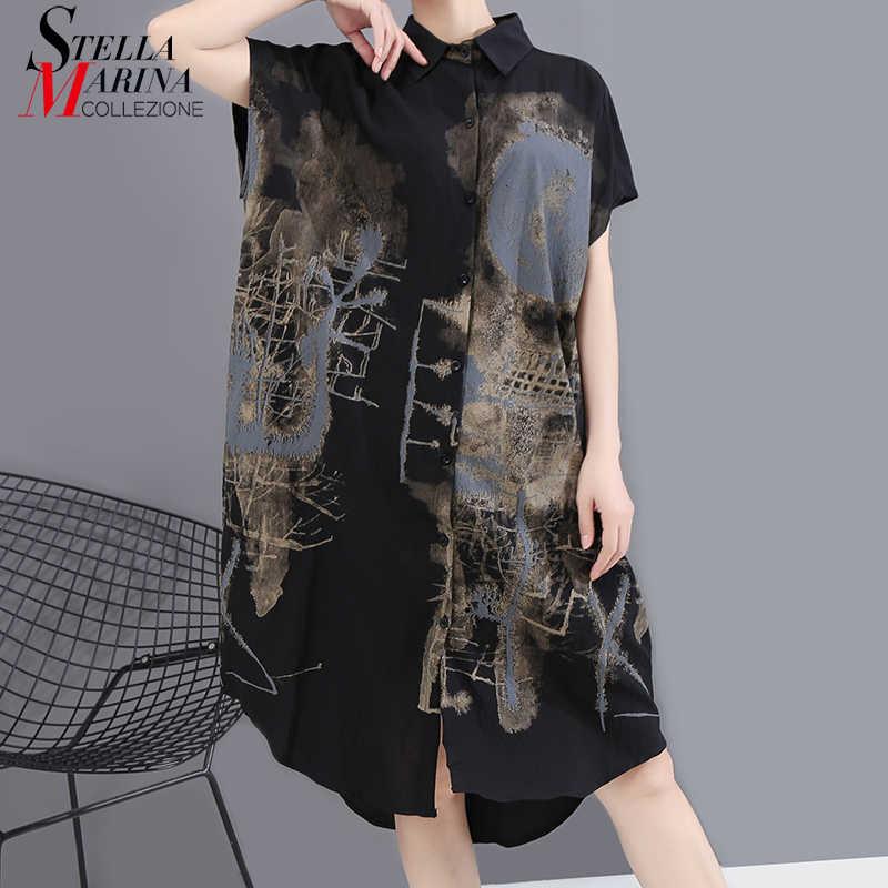 Nowy 2020 koreański malowane w stylu lato kobiety czarny koszula Vintage sukienka drukowane duży rozmiar damskie stylowe Casual Midi sukienka 6107