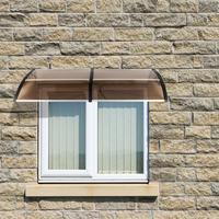 HT 200 X 100 Household Application Door Window Rain Cover Eaves Brown Board & Black Holder