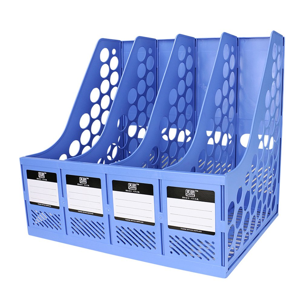 TIANSE TS-1303 Large Capacity Super Thick 4 Section Divider File Document Rack Home Office Desktop Plastic Bookshelf