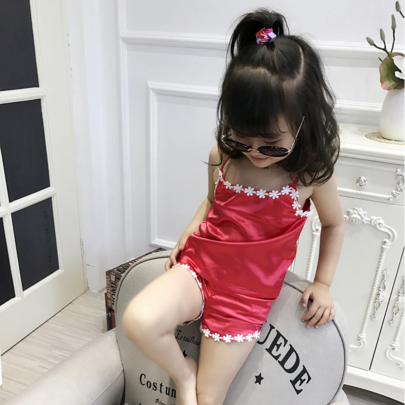 Girls' Pajama Summer Viscose Baby Princess Spaghetti Strap Pajamas Small GIRL'S Fabric Middle And Large Children GIRL'S Home Wea