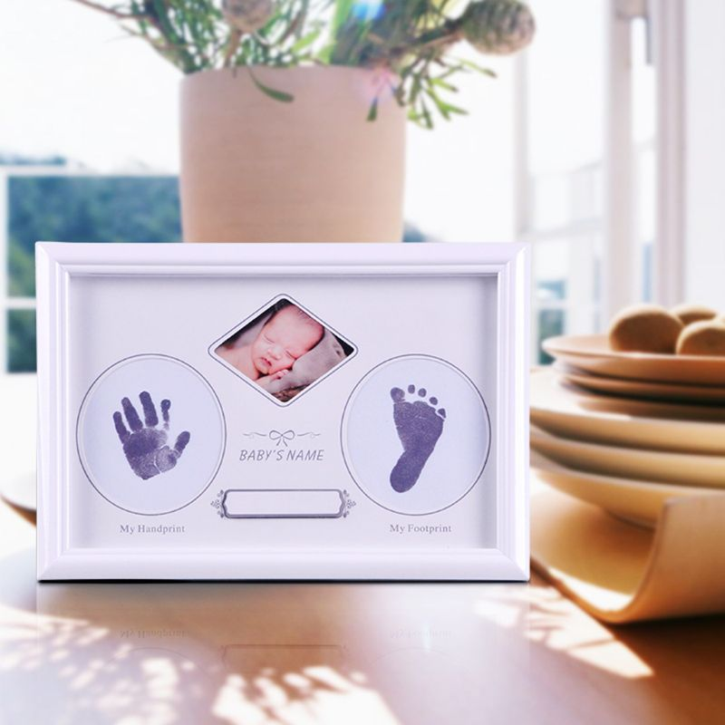 Baby Newborn Hand And Foot Prints Full Moon Hundred Days Infants Commemorative Frame Wooden Photo Frames Gifts AXYA