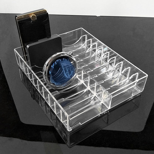 Transparent Acrylic Makeup Organizer Storage Box Powder Cake Display Stand Case Jewelry Box Cosmetic Storage Holder(China)