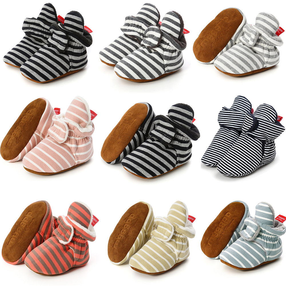 WARMSHOP Summer New Boys Girl Anti-Slip Baby Sandals Shoes Striped Soft Leather Canvas Sneakers