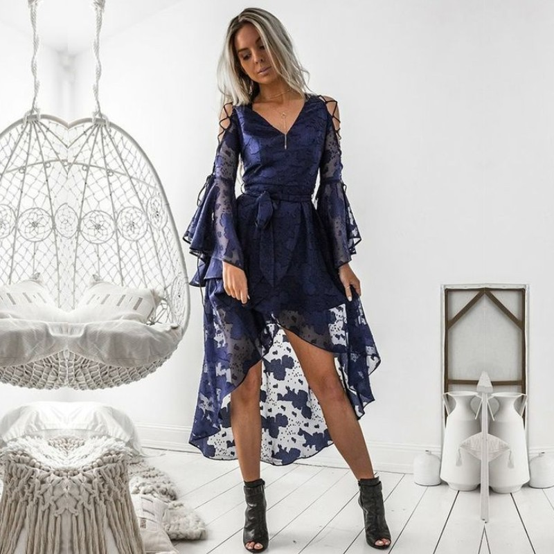 V Neck Long Sleeves Navy Blue Lace Homecoming Dresses High Low Sexy Cocktail Dress Graduation Gown Formal Dress In Stock
