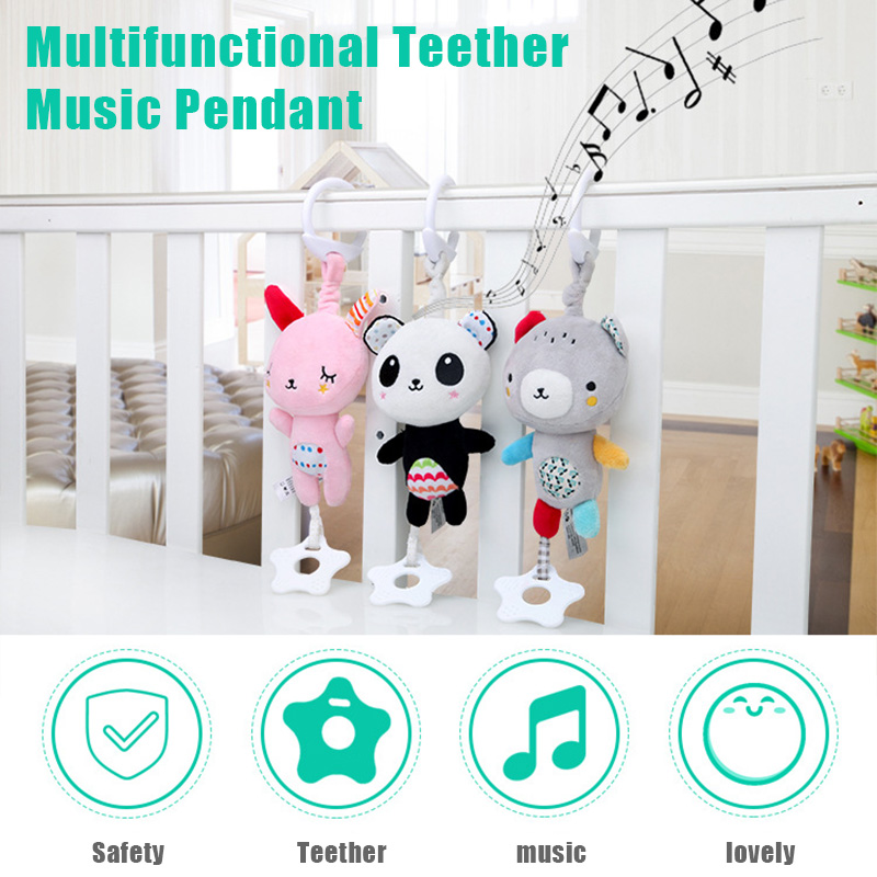 Hot Sale Multifunctional Bed Bell Cartoon Animal Teether Music Hanging Toy For Baby Stroller