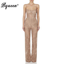 Bqueen Women Jumpsuit Romper Elegant Black Lace Sleeveless Spaghetti Strap Jumpsuit Celebrity Party Bodysuit 2019 New Summer(China)