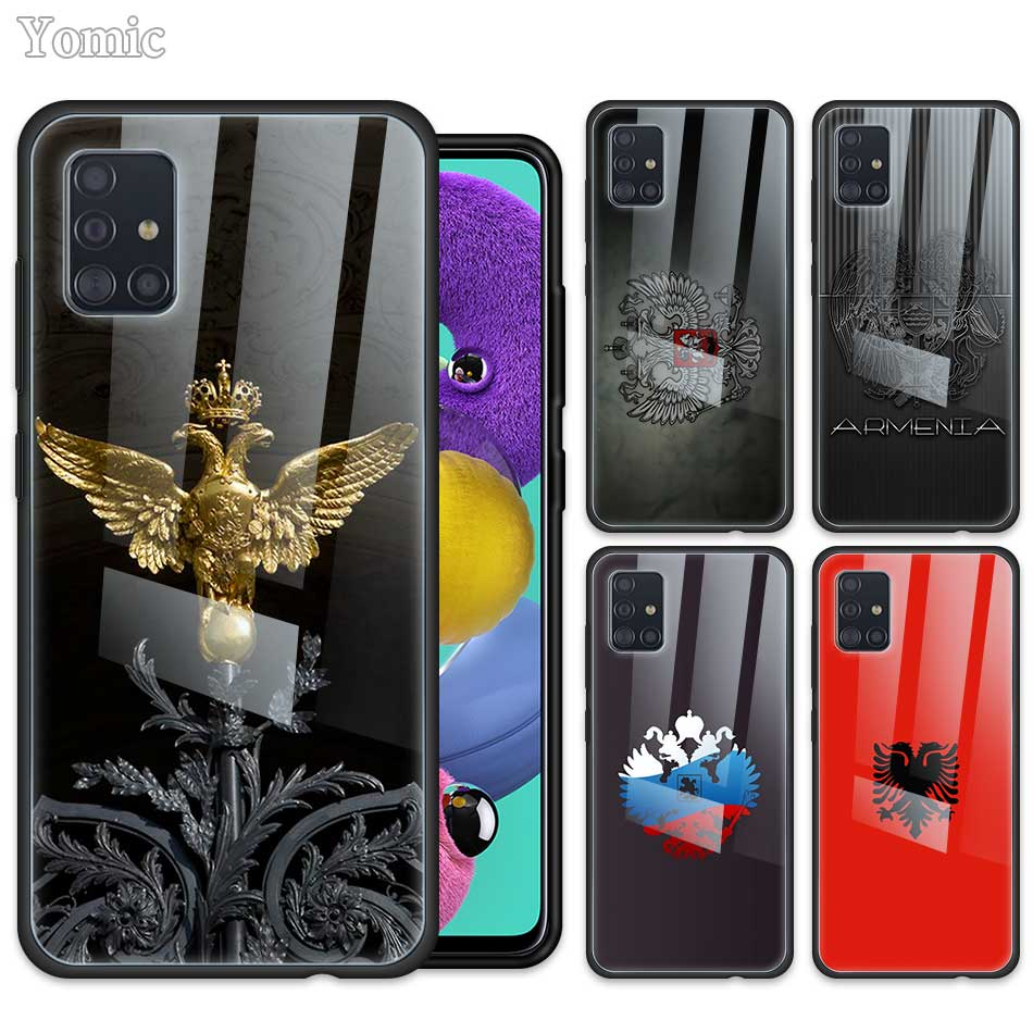 Glass <font><b>Case</b></font> for <font><b>Samsung</b></font> Galaxy A50 A51 A70 A71 5G A01 A10 A11 A20 A21 A30 A31 <font><b>A40</b></font> A41 M51 M31 Russia Coat Of Arms Eagle Flag image