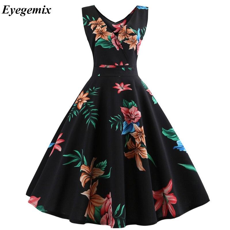 Bez rękawów kobiety letnia sukienka 2021 na co dzień z kwiatowym Retro Vintage 50s 60s szata Femme Rockabilly Swing Pinup Vestidos sukienek