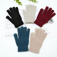 Unisex Winter Warm Knitted Full Finger Gloves Hand Warmer Plain Solid Color Touch Screen Smart Phone Thermal Line Mitten