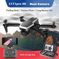 S171 Pro Fpv Mini Drone pieghevole con 4k Hd doppia fotocamera Wifi 2.4g Rc Quadcopter ritorno automatico a una chiave Fpv Quadcopter # gm