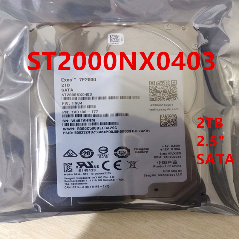 """New HDD For Seagate 2TB 2.5"""" SATA 6 Gb/s 128MB 7200RPM For Internal HDD For Enterprise Class HDD For ST2000NX0403 1"""