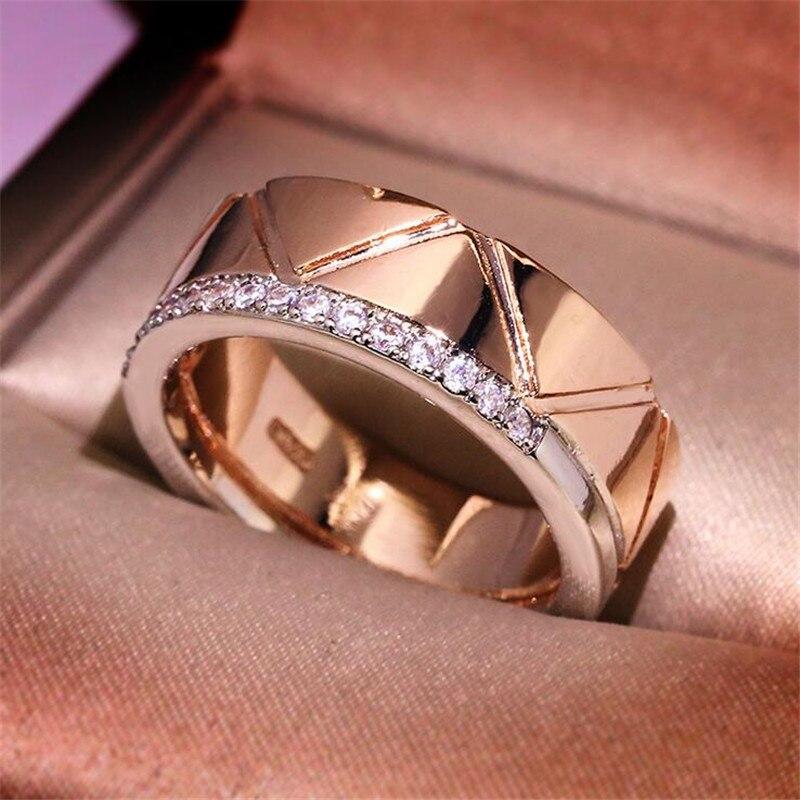 Offre spéciale bijoux de mode 925 en argent Sterling et or Rose remplir séparé or AAA cubique Zircon rayure femmes bague de mariage cadeau - 5