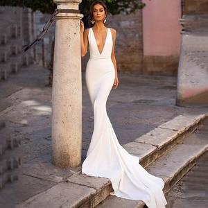Image 1 - Smileven Mermaid Wedding Dress Spandex Sleeveless Sexy Deep V Neck Beach Bride Dresses Train Elegant Wedding Boho Bridal Gowns