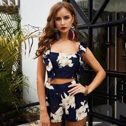 Женские топы + шорты, летнее винтажное платье на бретелях с цветочным принтом и открытой спиной, модное с лямками, праздничные пляжные