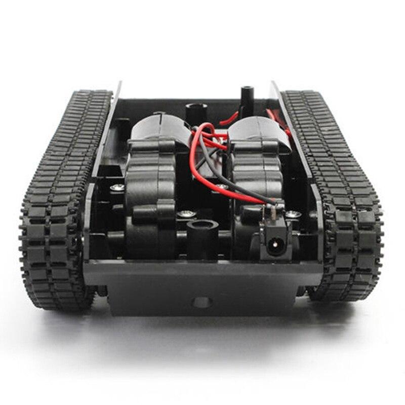Para arduino 130 motor diy robô brinquedos tanque rc robô inteligente kit chassi carro de borracha trilha rastreador para crianças