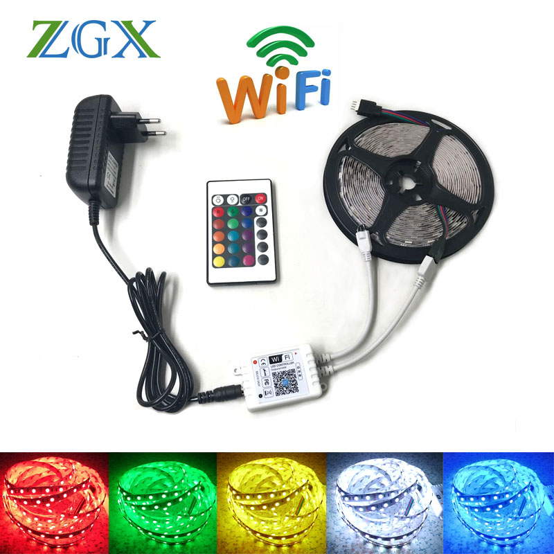 ZGX 5050 RGB LED strip wifi controller rgb led light wireless ribbon tape smart Led light Diode DC 12V adapter set flexible 15m image