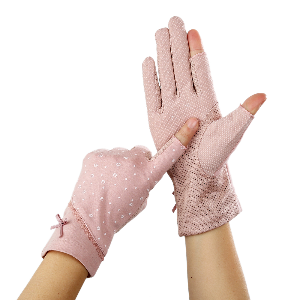 Women's Short Spring Summer Half Finger Gloves Thin Cotton Gloves Driving Sun Protection Gloves Cycling Non Slip Touch Screen