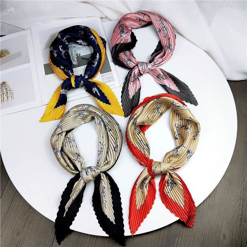 AOMU Folded Pleated Silk Scarf Exquisite Retro Fashion Print Wrinkle Decoration Sunscreen Wild Art Small Square Scarf Size 70cm