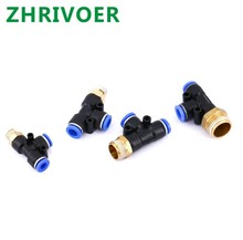 Hose Tube T Shape Tee Air Fitting 1/4 1/8 3/8 1/2BSPT Male Thread 3 Way Pipe Coupler Pneumatic Connector 10mm 8mm 6mm 12mm 1pcs ap045 yc6 2 3 4 5pin 6mm male