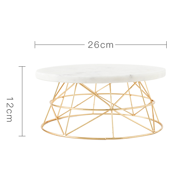 Nordic Marble Cake Dessert Tray with Gold plated BaseFrame Household Fruit Snacks Dried Fruit Basin JewelryCosmeticStorage Table - 6