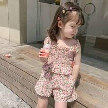 Ensemble de vêtements d'été pour filles, hauts Floral, haut + short, écharpe, 2 pièces, tenue pour bébés filles, mode, costume I40, 2021