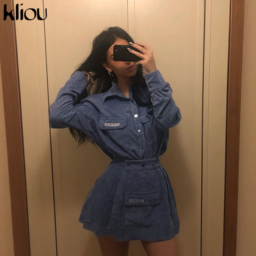 Kliou Women Casual Two Pieces Set 2019 Autumn X-long Coat + Ruched Skirt Blue Outfits Single Breasted Pockets Turn-down Collar