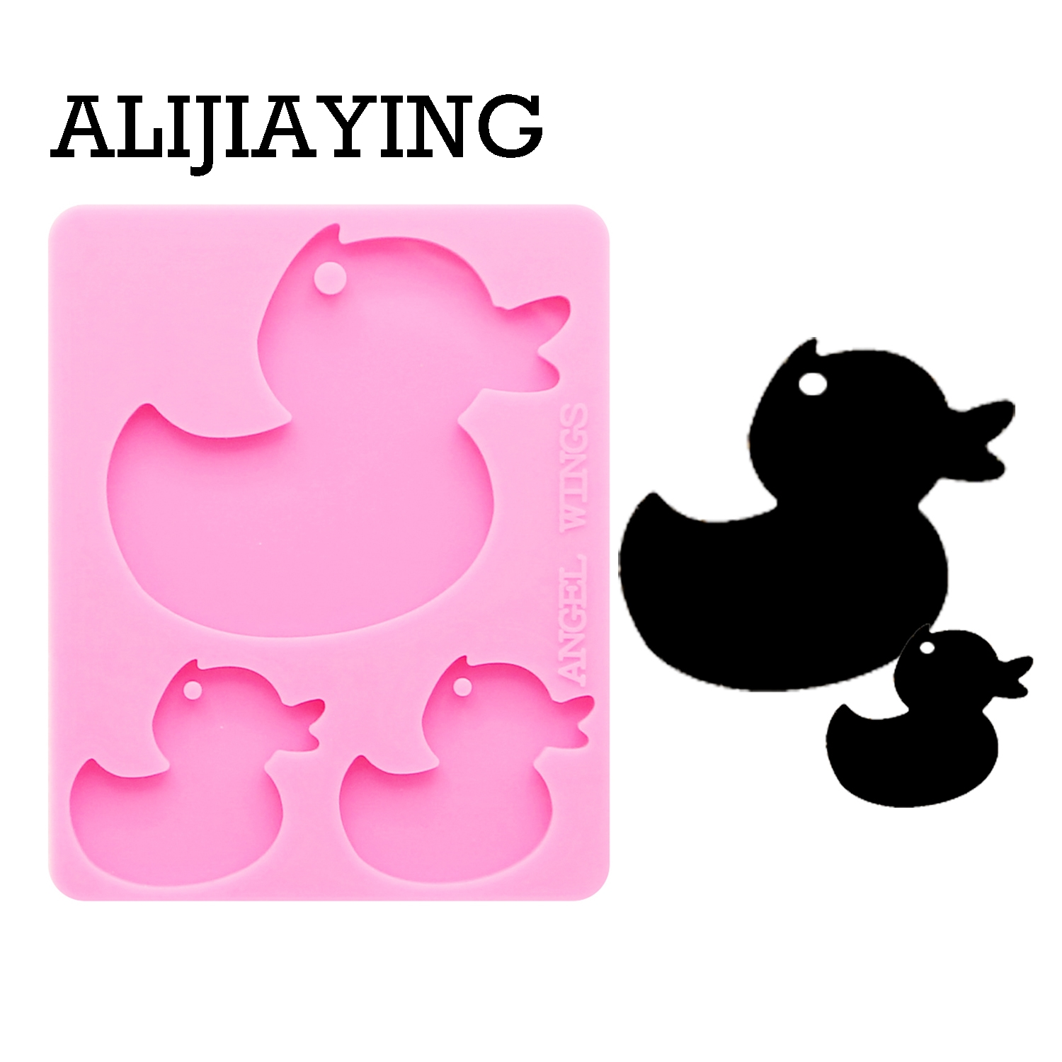 Dy0121 Diy Custom Keychain Mold Silicone Shiny Duck Mama Baby Family Key Ring Silicone Molds Keychain Molds For Resin Cake Molds Aliexpress