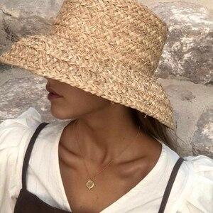 Image 5 - Sommer hüte für frauen Retro flache hängenden hut krempe hand made bast stroh hut damen outdoor sonnenschutz strand stroh hut