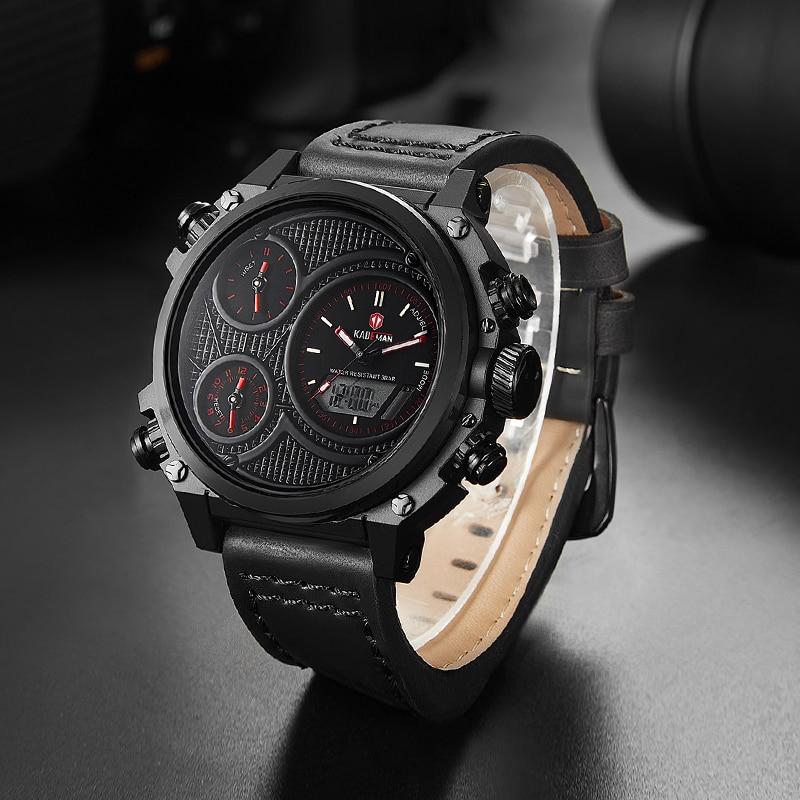 KADEMAN Montre Homme повседневные мужские наручные часы несколько часовых поясов двойные военные часы Неделя кожаный ремень Relojes Para Hombre подарок - 6