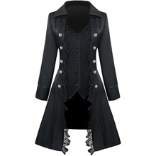 Rosetic Women Overcoat Medieval Solid Color Long Sleeve Three-Breasted Ladies Jacket Irregular Top Female Gothic Jackets