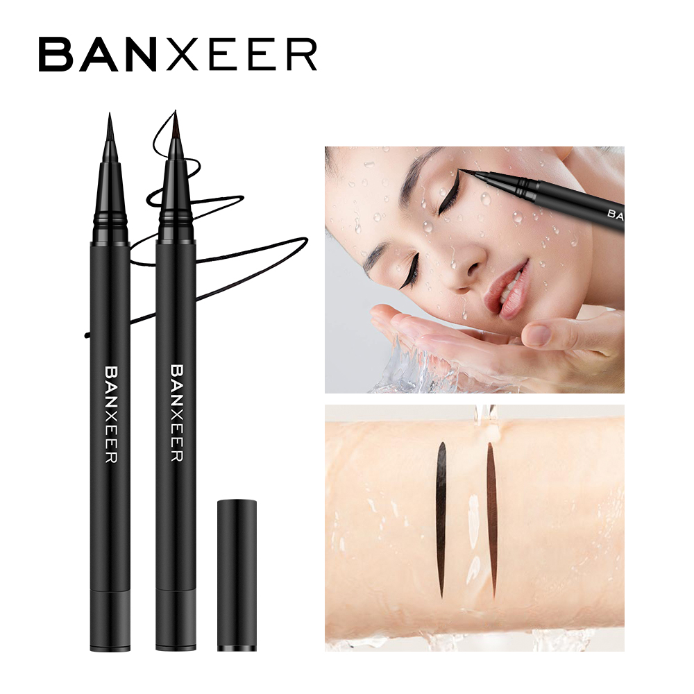 BANXEER Waterproof Eyeliner Long Lasting Eye Liner Pencil Quick Dry Black Brown ink Eyeliner Felt-Tip Pen Smudge-Proof Cosmetic image