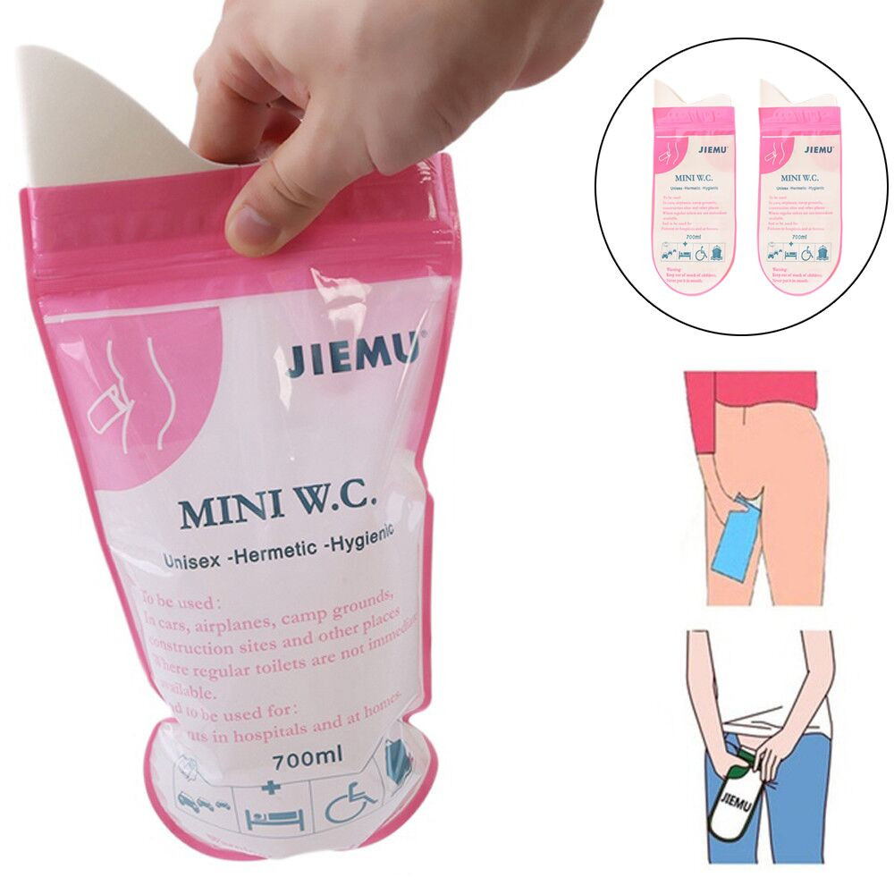 5PCS 700ml Emergency Portable Car Urine Bag Vomit Bags Mini Mobile Toilets Handy Unisex Disposable Urinal Toilet Bag(China)