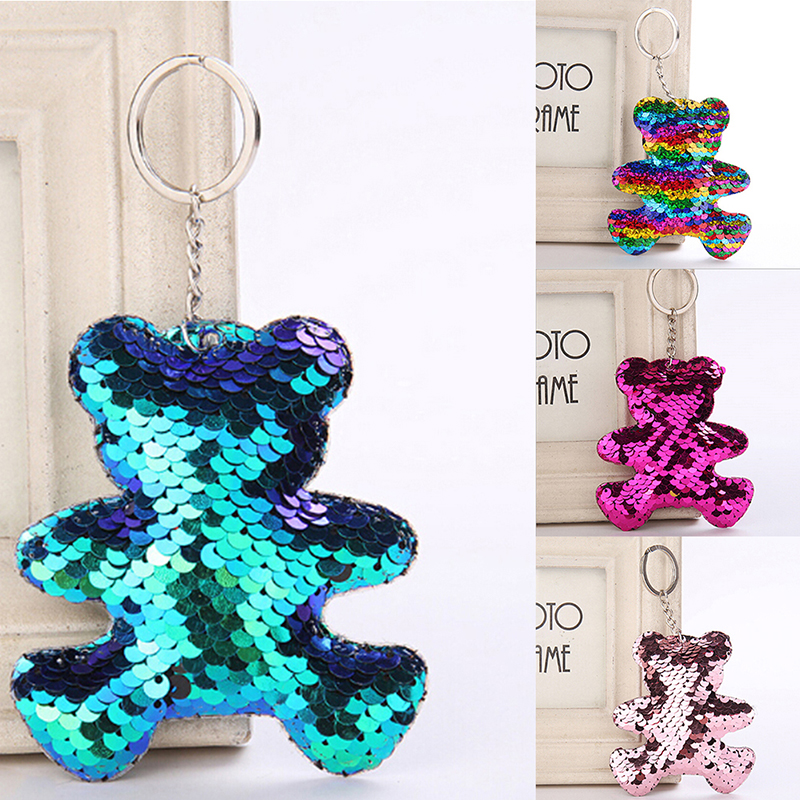 1PCS Hot Sale Stuffed <font><b>Unicorn</b></font> Doll Kids <font><b>Toy</b></font> <font><b>Girls</b></font> Bag Hang Pendant Key Chain Speelgoed Gift Colorful Cute Sequin Pom Key Pendant image