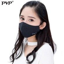 PVP * القطن الأسود الفم قناع الوجه مكافحة الغبار الطباعة تصفية يندبروف الفم دثر للرجال النساء الأسود موضة دافئ