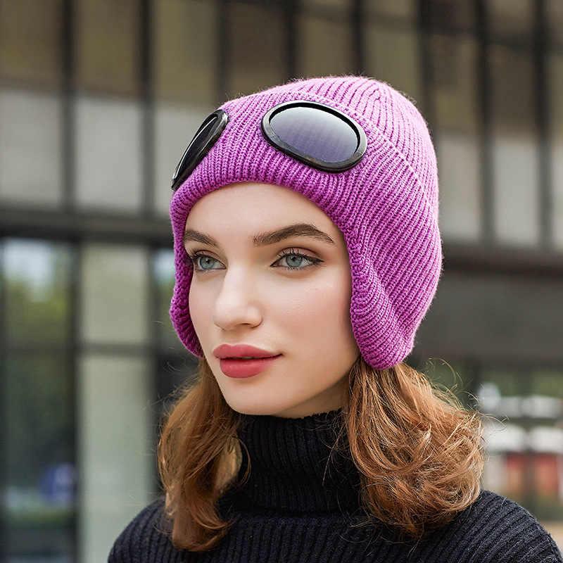 Herfst Mode Hoed met Bril Vrouwen Winter Piloot Luchtvaart Beanie Knit Koreaanse Gebreide Oranje Zwart Roze Hoofd Warmer Bril Cap