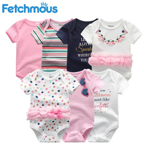 Image 2 - Baby Mädchen Kleidung Baumwolle Neugeborenen Jungen Baby Strampler 7 Teile/lose Kurzarm Kleinkind Kostüm Cartoon Baby Onesie Overall
