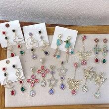 MENGJIQIAO orecchini di goccia di cristallo colorati farfalla di lusso coreana per le donne ragazze esagerate Pendientes gioielli da festa