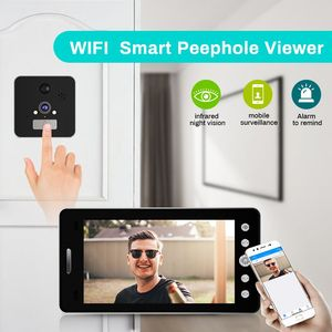 Image 2 - Wifi אלחוטי דלת בל 5 אינץ חור ההצצה Viewer מצלמה צג עבור חכם בית פעמון עם צג גלאי ראיית לילה