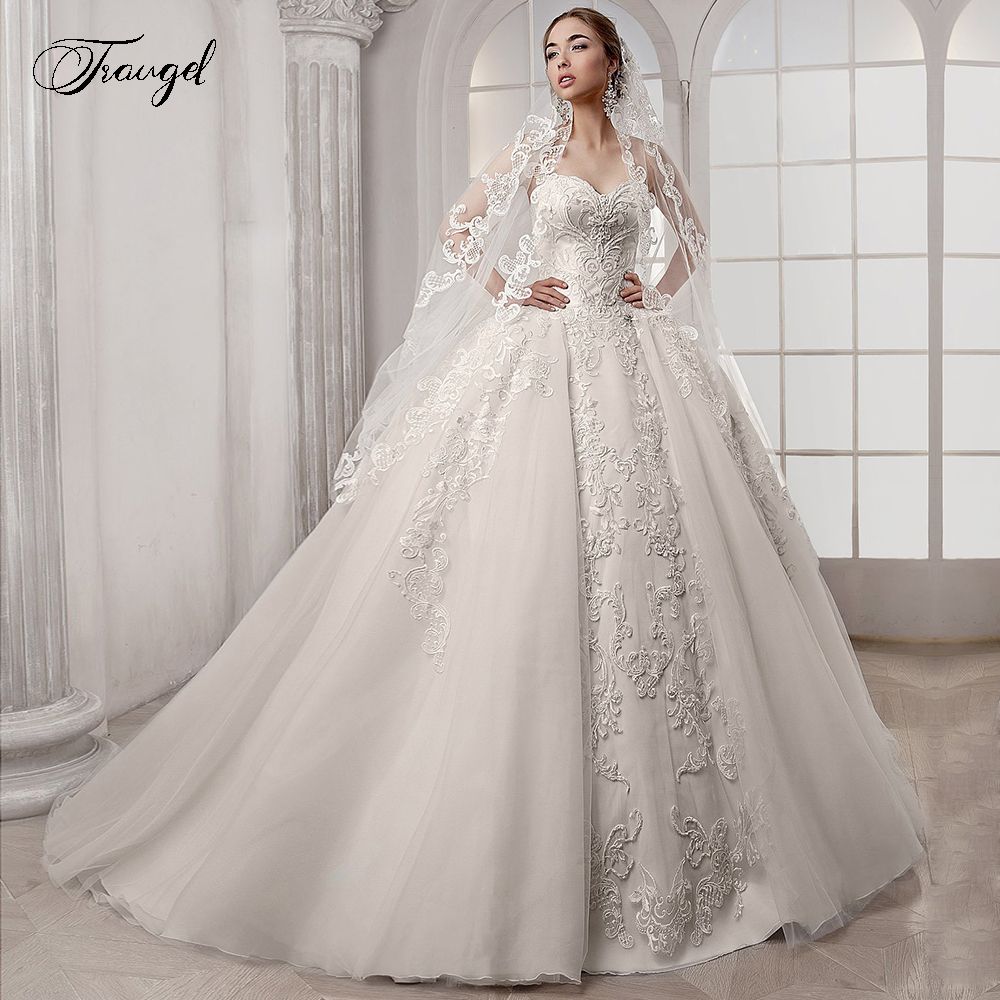 Traugel Sweetehart Ball Gown Lace Wedding Dresses Applique Sleeveless Backless Bride Dress Chapel Train Bridal Gown Plus Size