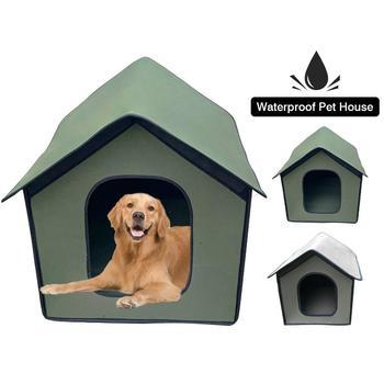 Dom dla psa EVA wodoodporny dom dla kotów na zewnątrz z wewnętrzna wkładka składana schronisko dla zwierząt przenośne zwierzęta dom dla psa i kota namiot tanie i dobre opinie AIHOME Pranie ręczne Wodoodporna Stałe Pet Outdoor House Waterproof Weatherproof Cat House Foldable Pet Shelt Łóżka i sofy