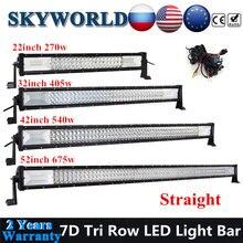 SKYWORLD прямые 7D Tri ряд Светодиодный Бар Offroad 22 32 42 52 дюймов комбинированного луча дальнего света светодиодный светильник бар 12/24V для 4x4 грузови...