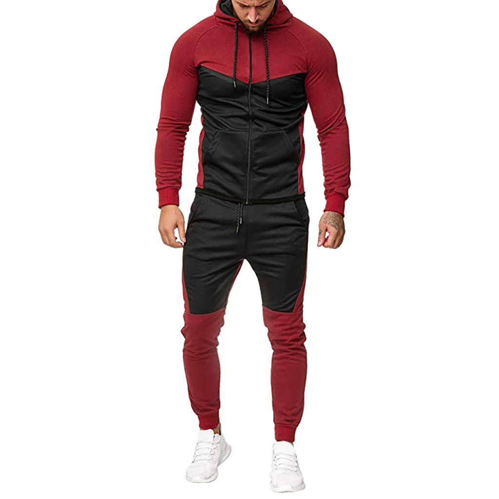 Men's Splicing Stitching Zipper Sweatshirt Top Pants Sets Fitness Jogging Homme Sports Suit Long Sleeve Casual Tracksuit#Z