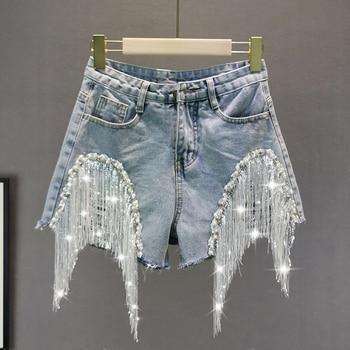 Women's Summer Denim Hot Pants New European Style Heavy Beaded Sequin Fringed Denim Shorts Female Wide-Leg Shorts Jeans цена 2017