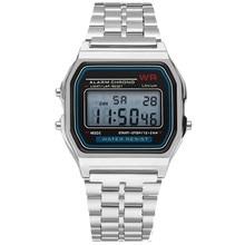 LED Digital Waterproof Quartz Wrist Watch Dress Golden