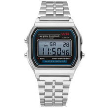 LED Digital Waterproof Quartz Wrist Watch Dress Golden Wrist